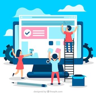 Web ontwerpconcept met vlakke stijl