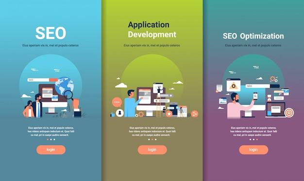 Web-ontwerpsjabloon set voor seo-optimalisatie en applicatie-ontwikkeling concepten verschillende zakelijke collectie