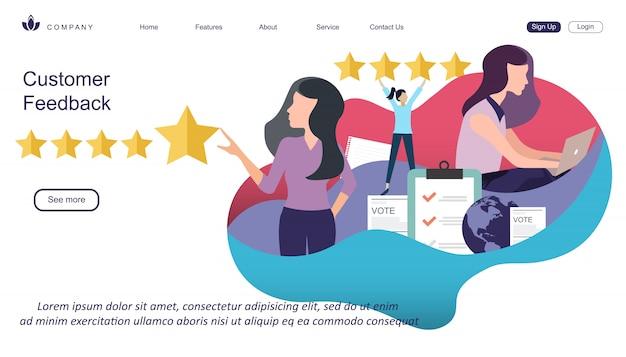 Web ontwerpsjabloon van klantbeoordeling