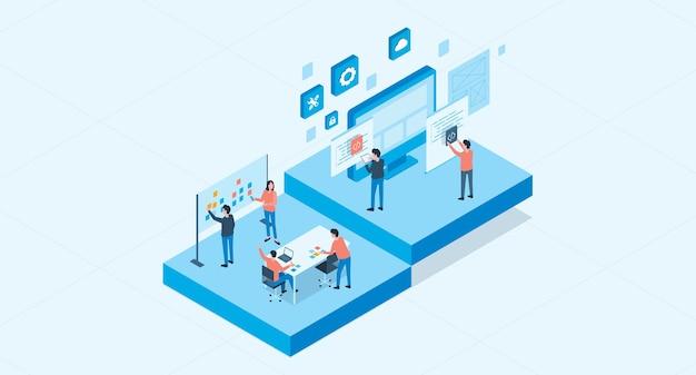 Web ontwikkelen en webdesign team werkconcept