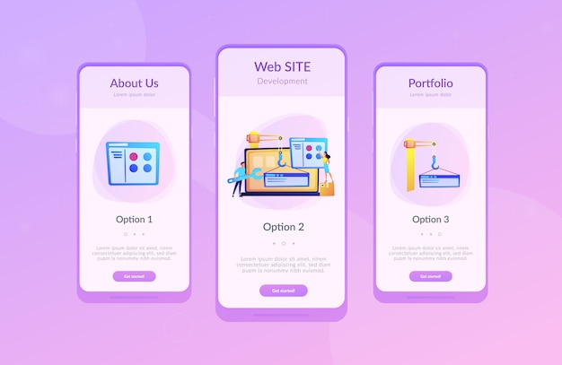 Web-ontwikkeling app interface sjabloon