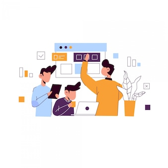 Web ontwikkeling concept illustratie voor bestemmingspagina