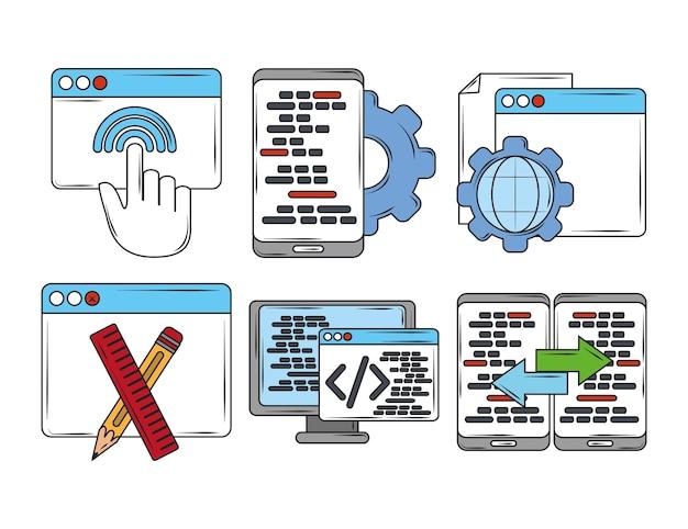 Web ontwikkeling digitale software app instelling seo codering taal pictogrammen illustratie