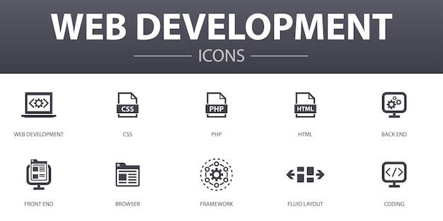 Web ontwikkeling eenvoudig concept iconen set. bevat pictogrammen als back-end, front-end, browser, vloeiende lay-out en meer, kan worden gebruikt voor web, logo, ui/ux
