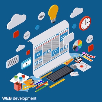 Web ontwikkeling isometrische vector concept illustratie