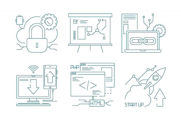 Web ontwikkeling pictogram en code ontwikkelaars web productie concept symbolen zoeken en seo vector