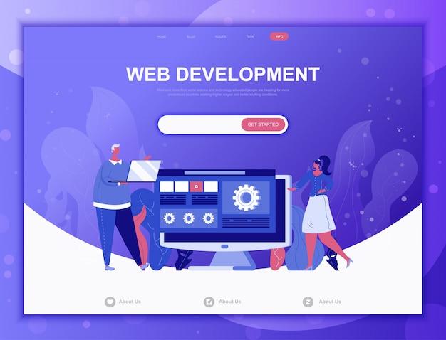 Web ontwikkeling platte concept, landingspagina websjabloon