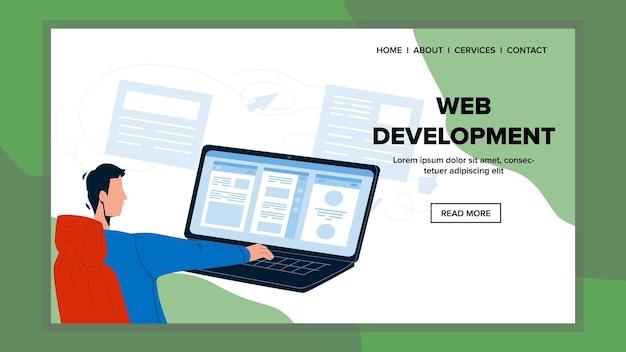 Web ontwikkeling programmeur man bezetting vector. jonge jongen die aan computer- en webontwikkeling werkt. karakterprogrammering en ontwerpwerk, het job developer flat cartoon illustration