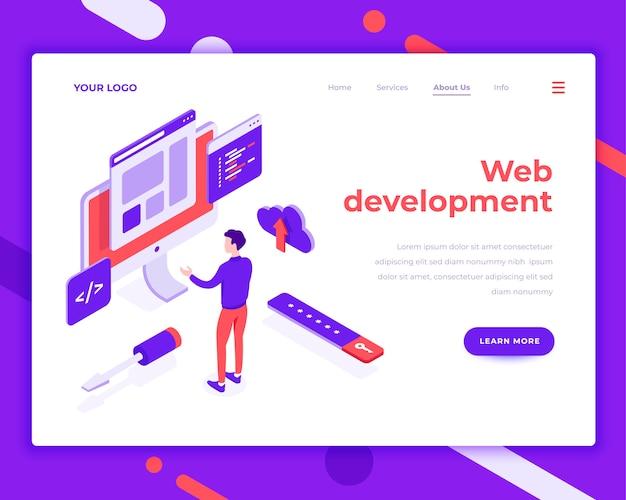 Web ontwikkeling teamwerk mensen en interactie met site isometrische vectorillustratie