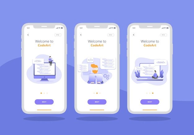 Web ontwikkelingsbureau app set van onboarding scherm mobiele ui ontwerp