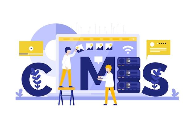 Web ontwikkelingsconcept cms plat ontwerp