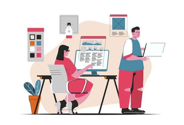 Web ontwikkelingsconcept geïsoleerd. creatie en optimalisatie van sites, vullen van inhoud. mensenscène in plat cartoonontwerp. vectorillustratie voor bloggen, website, mobiele app, promotiemateriaal.