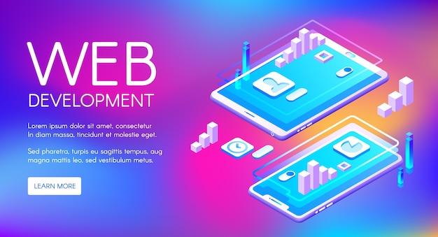 Web ontwikkelingsillustratie van computer en smartphone toepassingssoftware