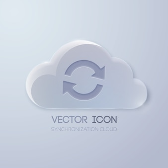 Web pictogram concept met glazen wolk en rotatie teken