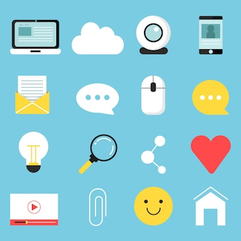 Web pictogrammen set van verschillende symbolen voor bloggen en uitzenden