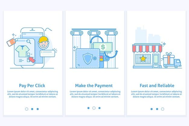 Web-pictogrammen voor e-commerce en internetbankieren. sjabloon voor mobiele app en website. moderne blauwe interface ux ui gui scherm template
