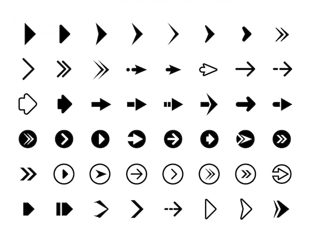 Web pijlen. symbolen voor website richting pijlen tekenen knoppen infographics pictogrammen