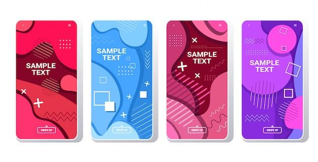 Web sjablonen instellen dynamische kleurrijke gradiënt abstracte banners vloeiende vloeibare vorm vloeiende kleur smartphone schermen collectie online mobiele app memphis stijl horizontaal