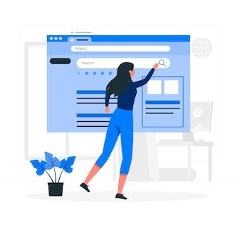Web zoeken concept illustratie