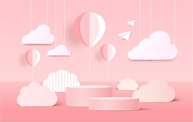 Web3d wit cilinder voetstuk podium met elementen papier gesneden stijl op pastel achtergrond. vectorsymbolen voor presentatieontwerp.