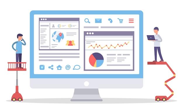 Webanalyse-informatie en ontwikkeling van websitestatistieken. web cms-analysemaatregel, producttesttechnologie, big data-analyse. seo-optimalisatie van de dashboard-site. digitale marketingrapporten, plat