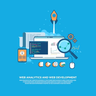 Webanalyse-informatie en website-ontwikkeling platte concept achtergrond.