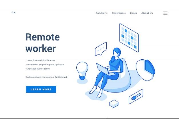 Webbanner die freelance baan van huis adverteren