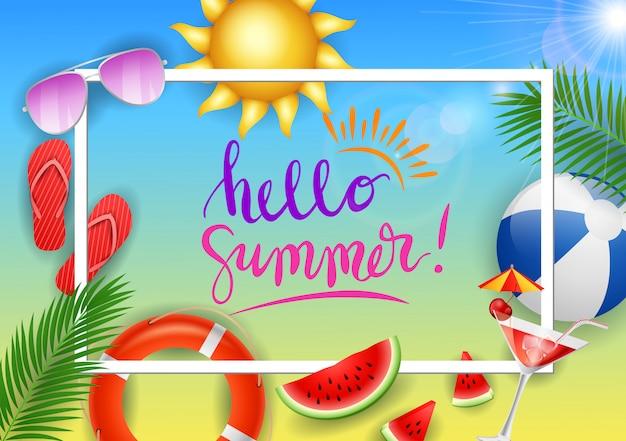 Webbanner hallo zomer met schoonheid blauwe lucht.