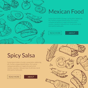 Webbanner malplaatjes met geschetste mexicaanse voedselelementen