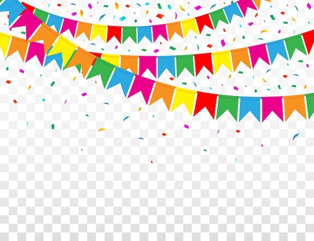 Webbanner met garland van kleurenvlaggen en confetti op transparant
