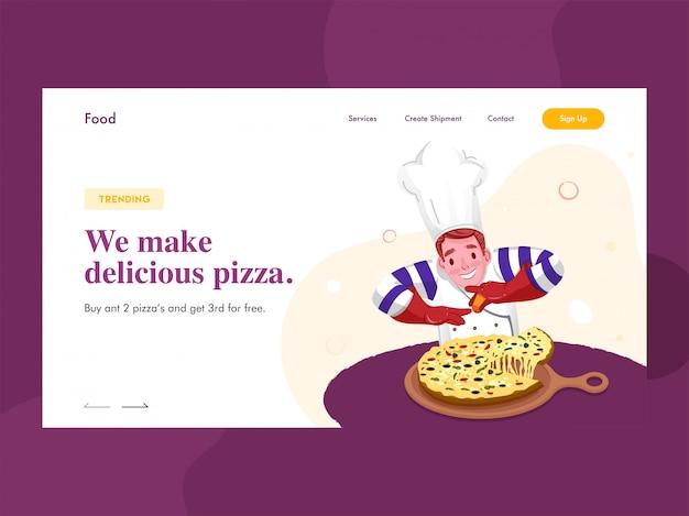 Webbanner of bestemmingspagina met chef-kok karakter presenteren pizza op pan en gegeven bericht we make delicious pizza.