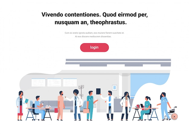 Webbanner of bestemmingspagina met illustratie van artsenteam