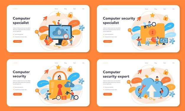 Webbanner of bestemmingspagina-set voor cyber- of webbeveiligingsspecialisten