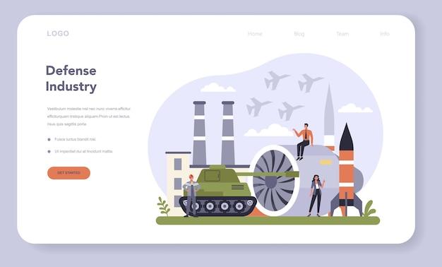 Webbanner of bestemmingspagina-set voor de defensie-industrie