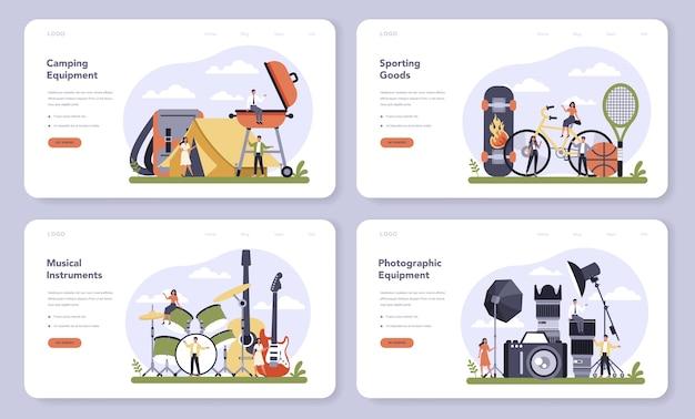 Webbanner of bestemmingspagina-set voor de productie van vrijetijdsproducten