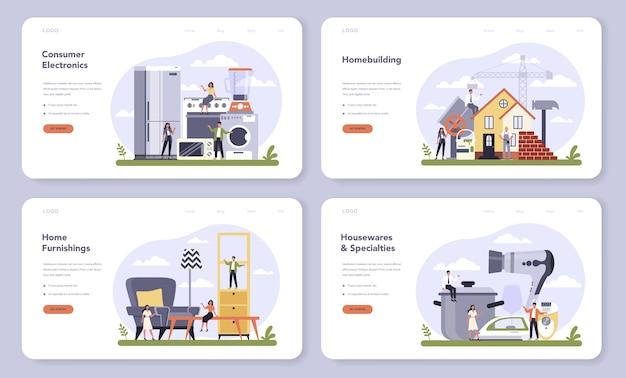Webbanner of bestemmingspagina-set voor productie van duurzame consumptiegoederen