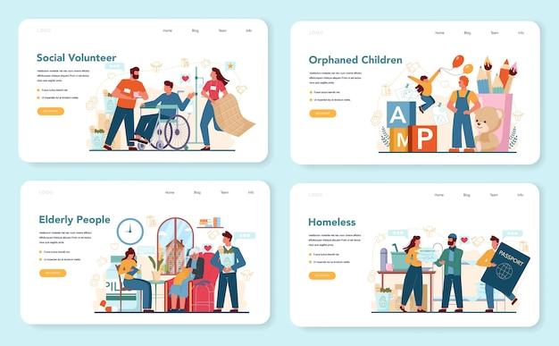 Webbanner of bestemmingspagina-set voor sociale vrijwilligers