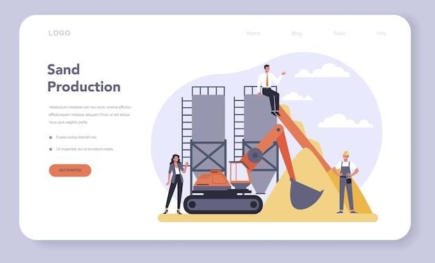 Webbanner of bestemmingspagina van de bouwmateriaalproductie-industrie