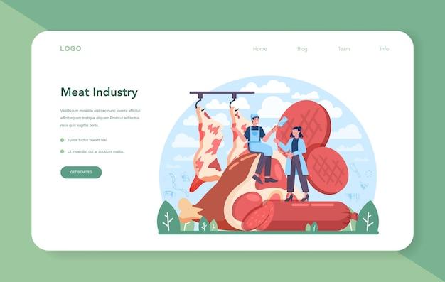Webbanner of bestemmingspagina van de vleesproductie-industrie. slager