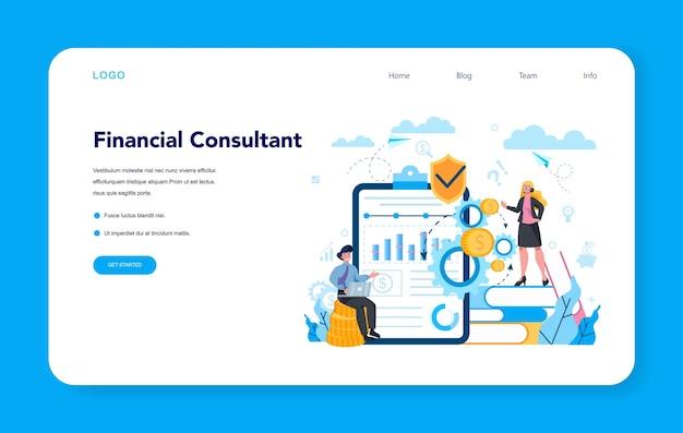 Webbanner of bestemmingspagina van financieel analist of consultant