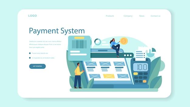 Webbanner of bestemmingspagina van het betalingssysteem