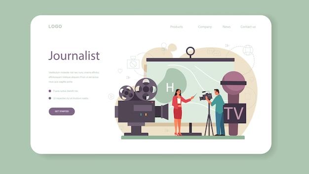 Webbanner of bestemmingspagina van tv-presentator. televisiepresentator in de studio