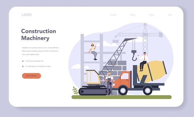 Webbanner of bestemmingspagina voor bouw- en machinebouw