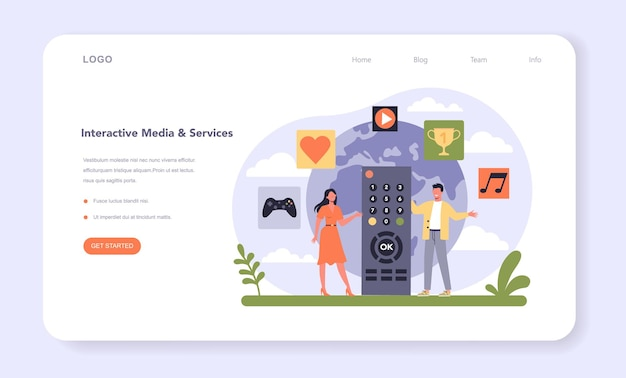 Webbanner of bestemmingspagina voor de media- en entertainmentindustrie