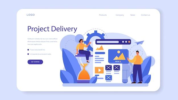 Webbanner of bestemmingspagina voor levering van zakelijke projecten