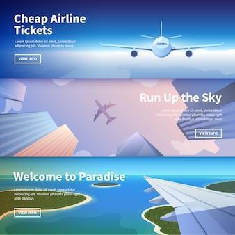 Webbanner op het thema van reizen per vliegtuig