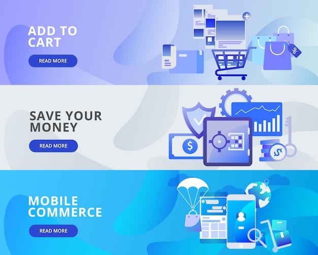 Webbanner van toevoegen aan winkelwagen, bespaar geld, mobiele handel