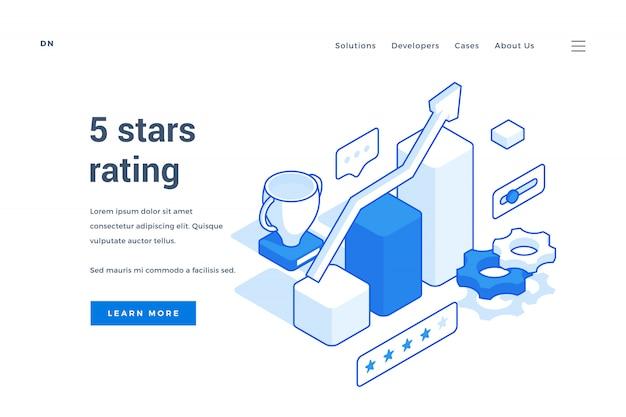 Webbanner voor 5 sterren beoordelingsservice. isometrische webbanner, bestemmingspagina sjabloon