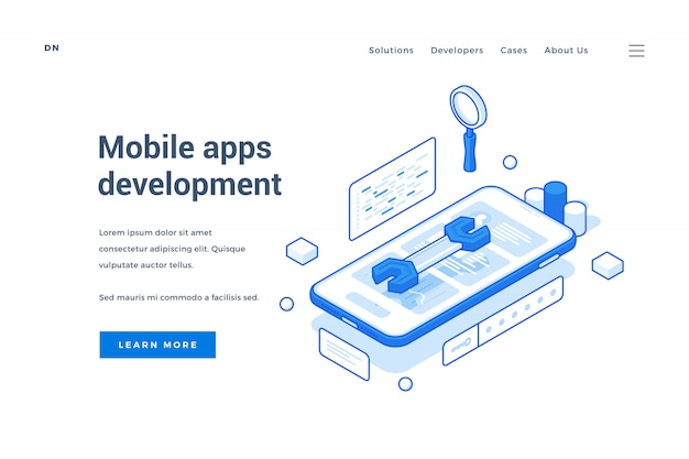 Webbanner voor de ontwikkeling van mobiele apps