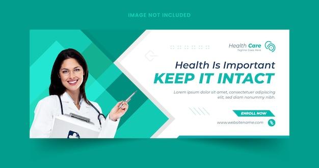 Webbanner voor gezondheidszorg en sjabloon voor sociale media